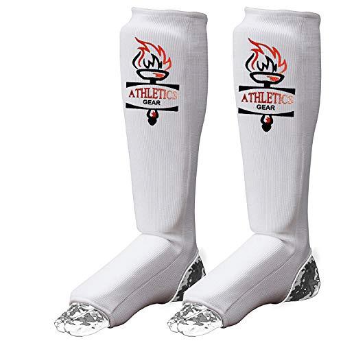 Athletics Gear - Espinilleras empeine para MMA, Kickboxing, Muay Thai - Material de polialgodón, acolchado de espuma EVA…