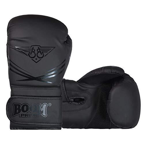 BOOM Prime - Guantes de Boxeo para Hombre y Mujer, Color Negro Mate 10oz 12oz 14oz 16oz Guantes de Entrenamiento de…