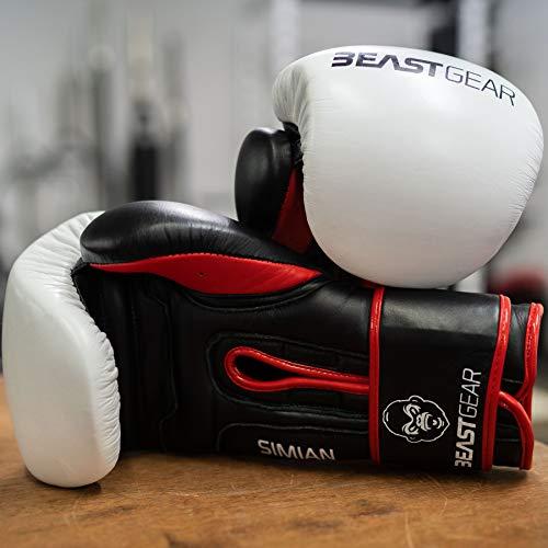 Beast Gear Guantes de Boxeo – Guantes Entrenamiento de Piel de Vacuno Modelo Simian - para Sacos de Boxeo, Sparring…