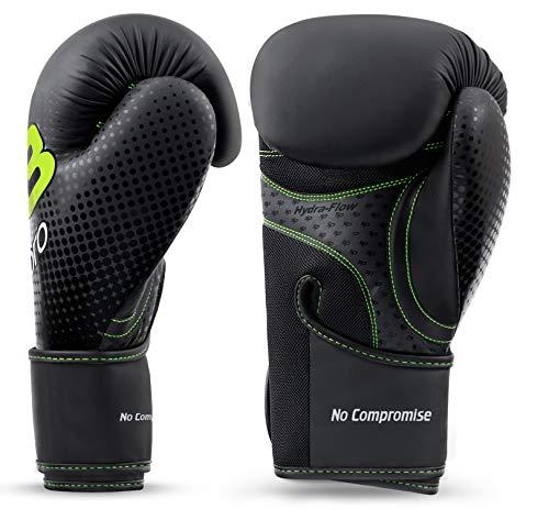 Starpro Guantes de boxeo M33, de piel sintética mate, color negro y verde, para entrenamiento y sparring en Muay Thai…