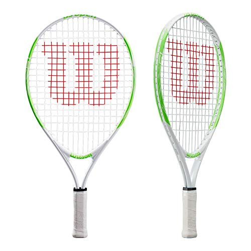 Wilson WRT20300U US Open 19, Raqueta de Tenis para niños de 2 a 4 años, Blanco/Verde, hasta 100 cm de Altura
