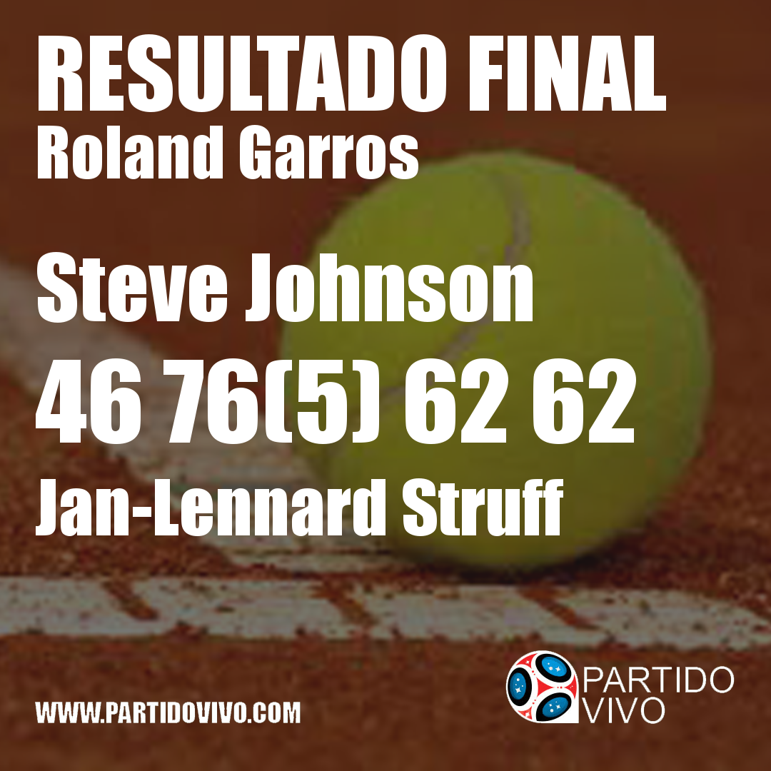 RESULTADO FINAL: Steve Johnson  46 76(5) 62 62  Jan-Lennard Struff #RG18